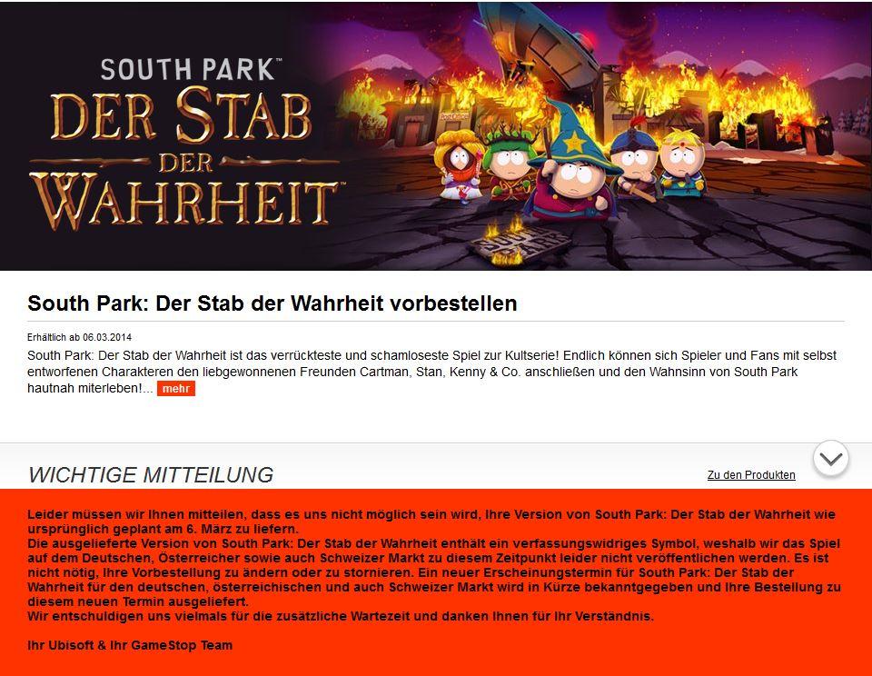 Gamestop South Park Screen