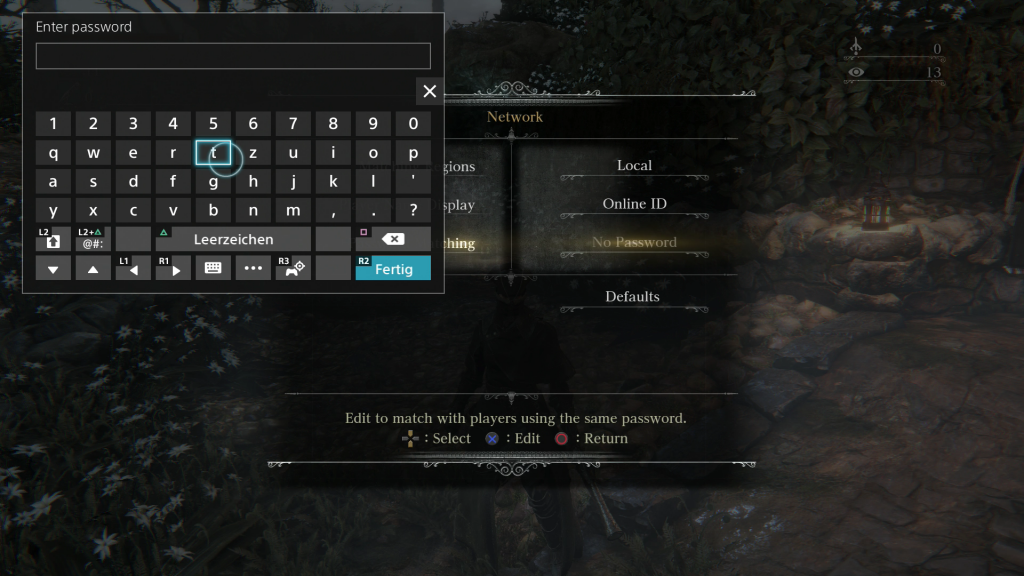 Bloodborne Password CK Screen