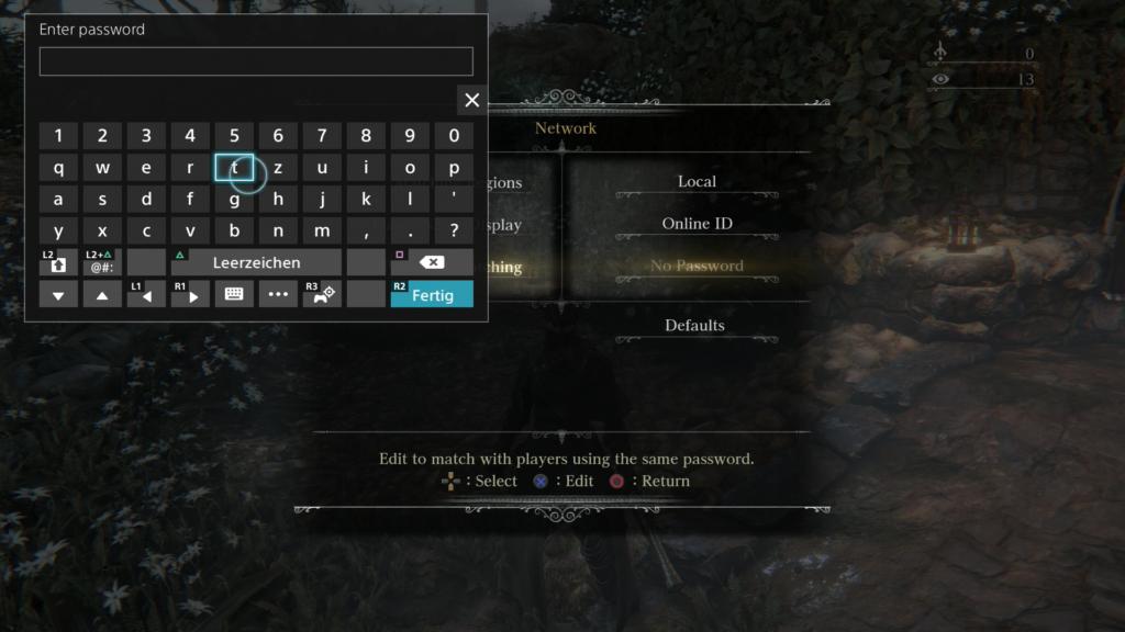Bloodborne Password CK Screen