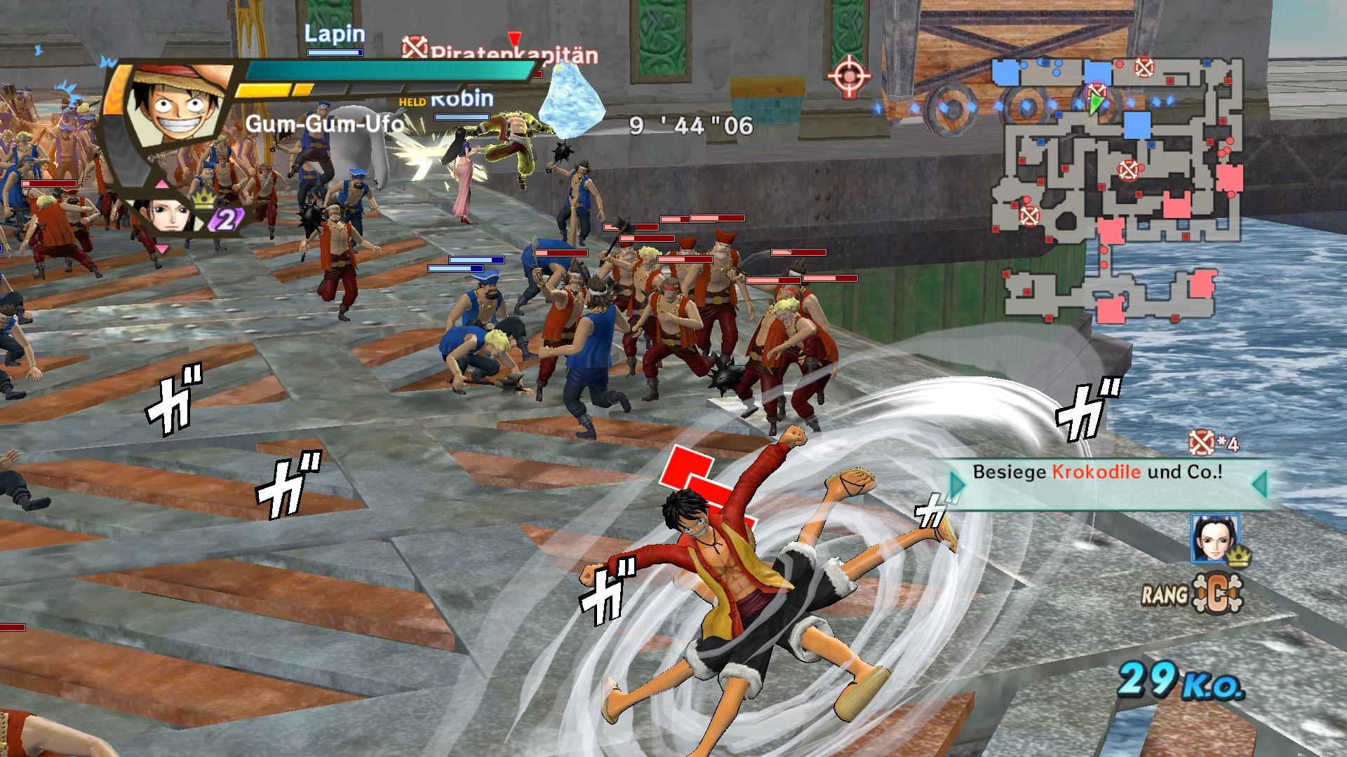 Mit dem Gum-Gum-Ufo stehen die unzähligen Gegner nicht lange. Doch ohen die vielen verschiedenen spielbaren Charaktere und ihren Attacken-Aresenal wäre das Gameplay recht eintönig. ©Screenshot