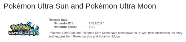 to be announced Pokémon Ultrasonne und Ultramond auf Switch