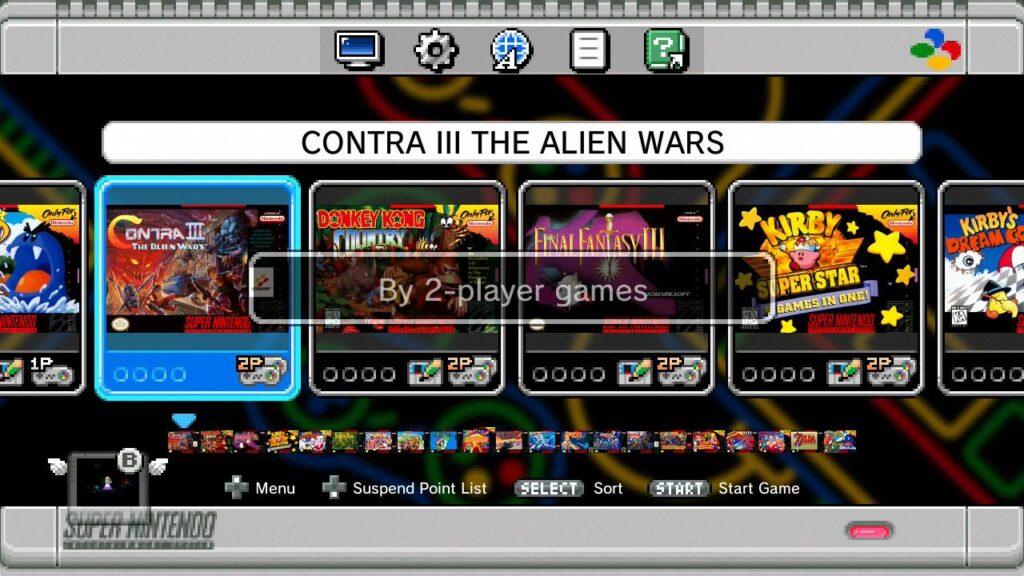 Menü Screenshot SNES Mini