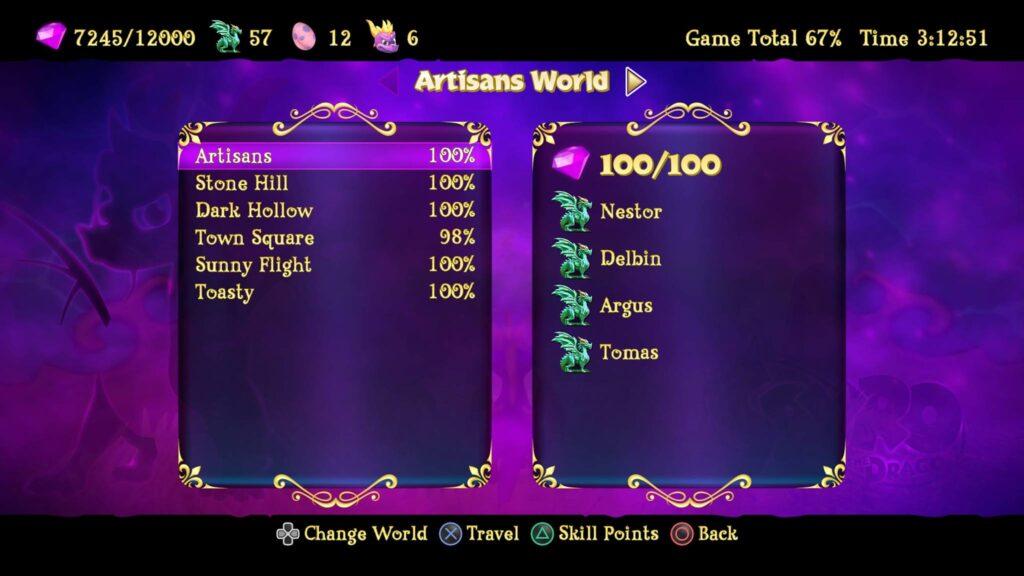 Menü Screenshot Spyro the Dragon Trilogy Review
