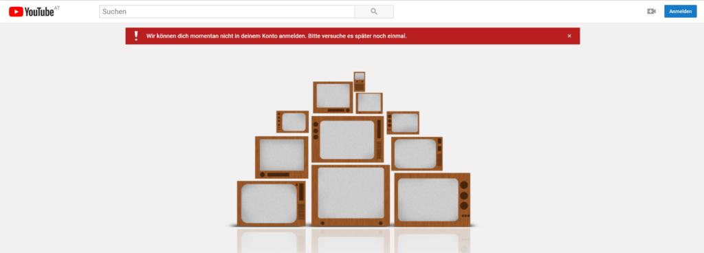 YouTube Anmeldefehler