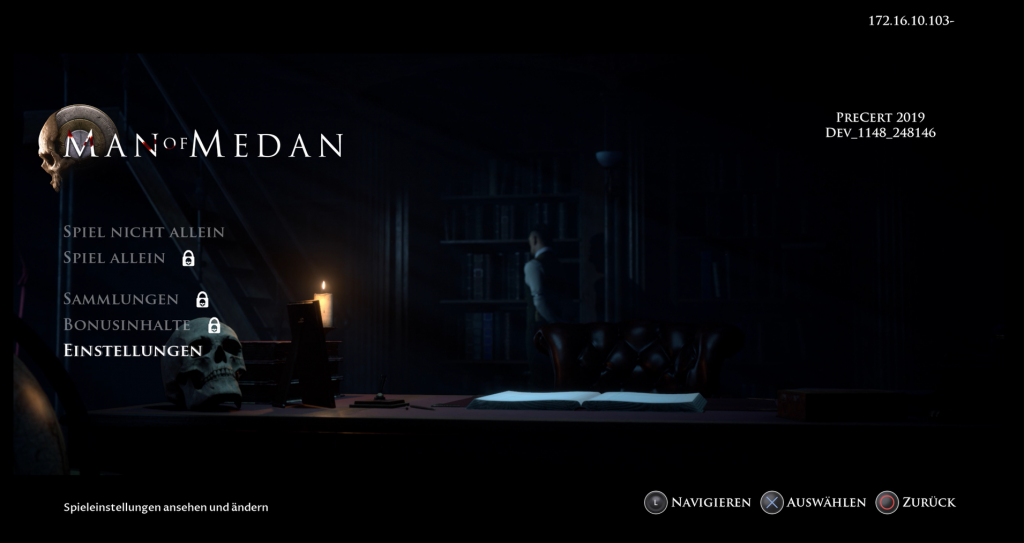 Man of Medan Menü Screenshot