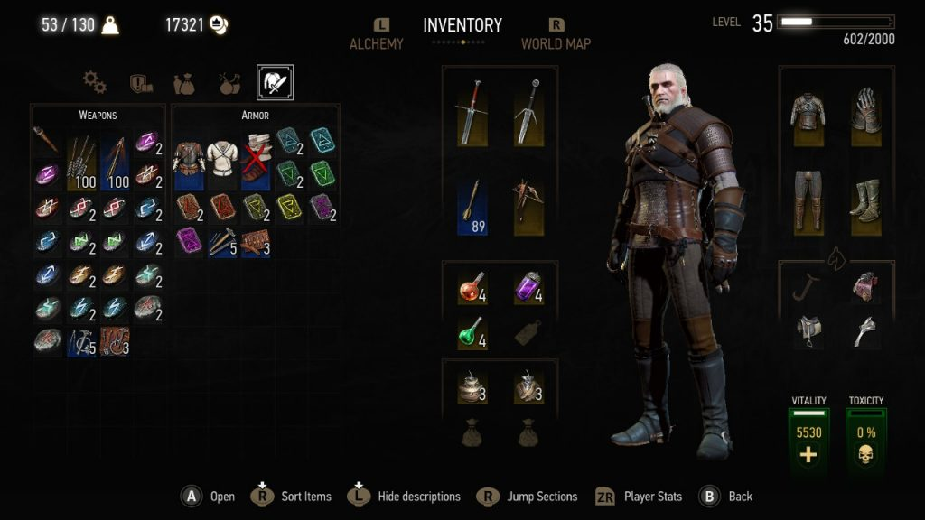 The Witcher 3 Nintendo Switch Inventar Screenshot Review