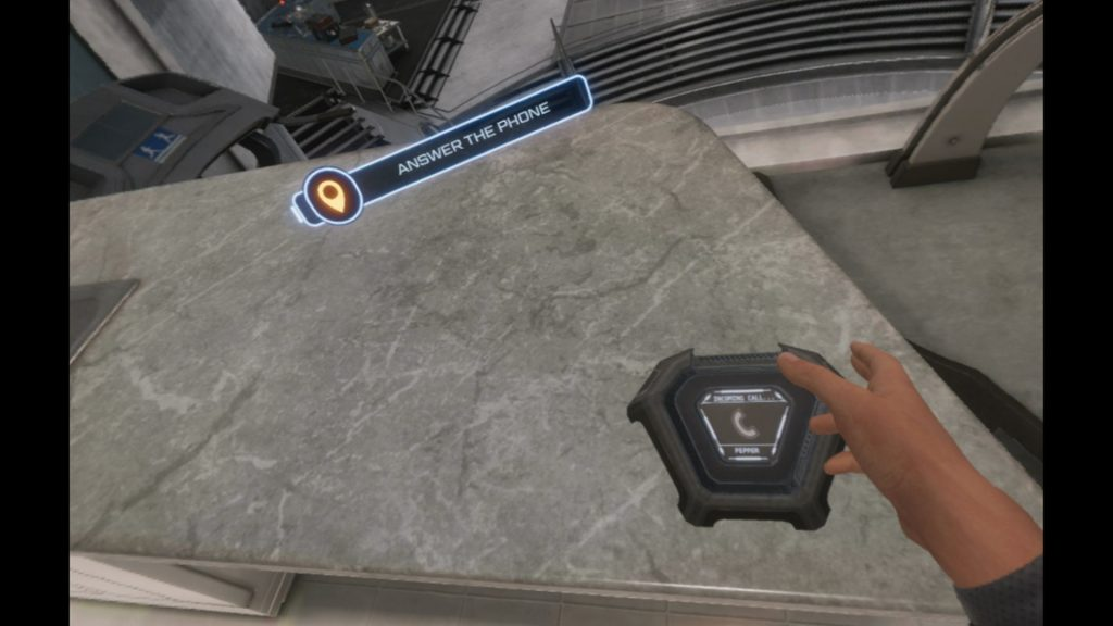 Iron Man VR picking up the phone