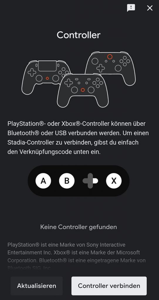Google Stadia Controller verbinden